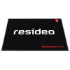 Non-skid black carpeted floor mat with Resideo logo